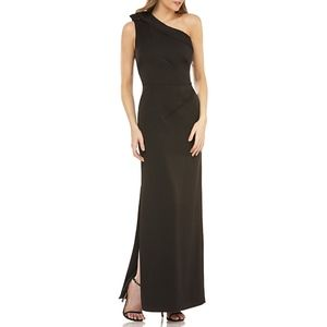 NEW Kay Unger Black Jeweled One-shoulder Gown 10